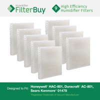 Honeywell HAC-801, Duracraft AC-801, Sears Kenmore 01478 Replacement Humidifier Wick Filters. Pack of 9 Filters. Designed by FilterBuy.