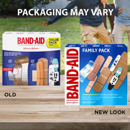 Band-Aid Brand Adhesive Bandage Family Variety Pack, Assorted Sizes, 120