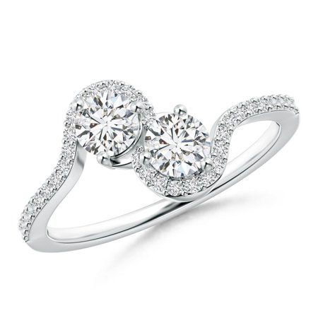 2 Diamond Platinum Engagement Ring (Two Stone Diamond Bypass Engagement Ring with Accents in Platinum (Weight: 0.6ctwt) )