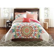 Mainstays Medallion Bed in a Bag Comforter Set, Full