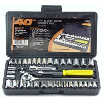 "Great Neck Saw PS040 1/4"" and 3/8"" Drive Sockets Standard and Metric 40-Piece Set"