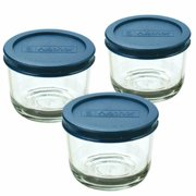 Anchor Hocking 2 Cup Round Food Storage Containers with Blue Plastic Lids, 3 Count