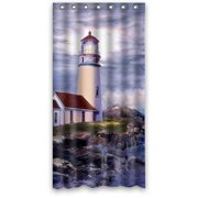 HelloDecor It Sea Lighthouse Cottage House Stall Shower Curtain Polyester Fabric Bathroom Decorative Size 36x72