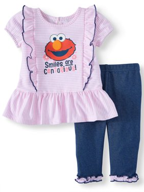 Elmo Short Sleeve Ruffle Tunic Top & Leggings, 2pc Outfit Set (Baby Girls)