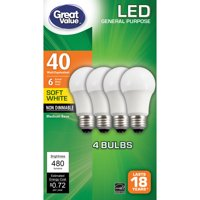 Great Value LED A19 (E26) Light Bulbs 6W (40W Equivalent), Soft White, 4-Pack