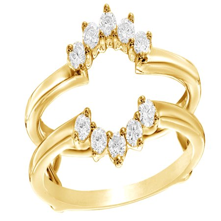 White Natural Diamond Flower Frame Solitaire Enhancer Ring in 10k Yellow Gold (0.33