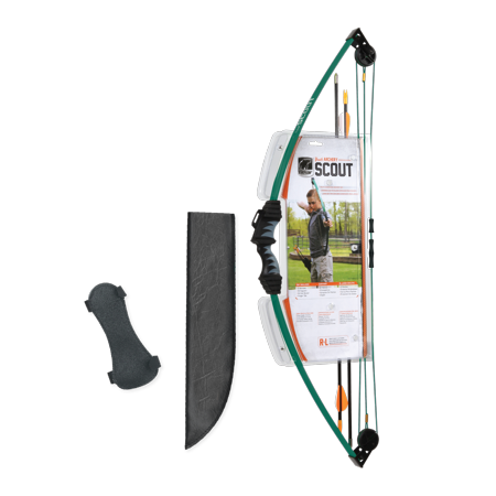 Bear Archery Scout Youth Bow Set Includes Arrows, Armguard, Arrow Quiver, and Recommended for Ages 4 to 7 – Hunter Green - Archery Sets