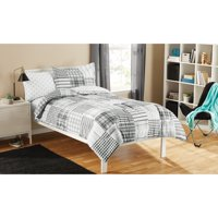 Mainstays Kid's Twin Gray Plaid Bed in a Bag