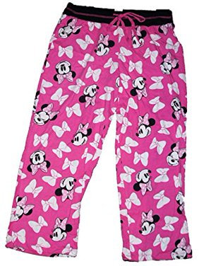 [P] Disney Womens' Minnie Mouse Pajama Pant w/ Minnie Face and Bow Print - Pink (2XL)
