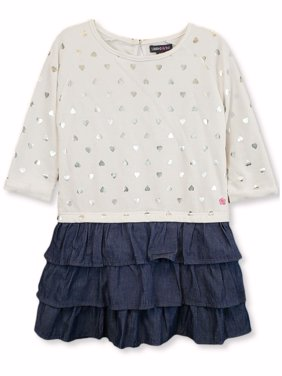 Limited Too Long Sleeve French Terry & Denim Ruffle Dress (Little Girls & Big Girls)