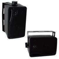 """PYLE PLMR24B 3.5"""" 200 Watt 3-Way Weather Proof Mini Box Speaker System Black"""
