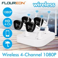FLOUREON HD1080P Wireless Security Camera System for Home Surveillance with 4 720P Camera and 4CH DVR Kit(Weatherproof IP66) for Home Surveillance