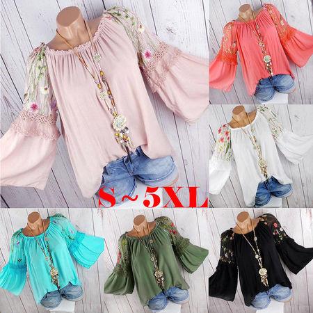 Fashion Women O-Neck Blouse Floral Embroidery Lace Flare Sleeve Tops Chiffon Womens Blouses Plus Size Fashion Blusa Feminina ()