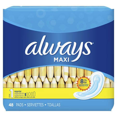 ALWAYS Maxi Size 1 Regular Pads Without Wings Unscented, 48 Count