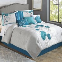 Better Homes & Gardens Full or Queen Blooming Roses Teal Comforter Set, 7 Piece
