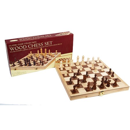Classic Games Collection Inlaid Wood Chess (Polystone Chess Set)