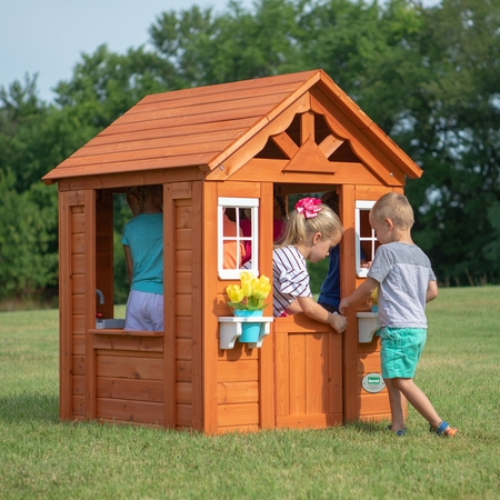 Backyard Discovery Timberlake Cedar Wooden Playhouse ()