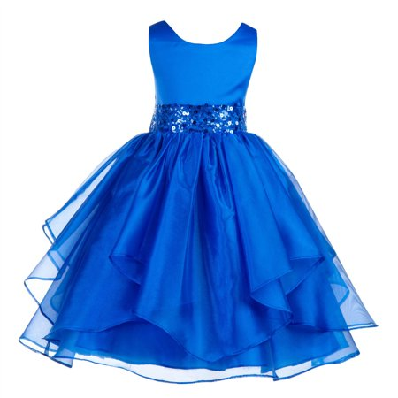 Ekidsbridal Asymmetric Ruffled Organza Sequin Flower Girl Dress Weddings Easter Special Occasions Pageant Toddler Birthday Party Holiday Bridal Baptism Junior Bridesmaid Communion 012s - Girls Party Dresses