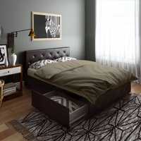 DHP Dean Black Faux Leather Upholstered Queen Bed with Storage