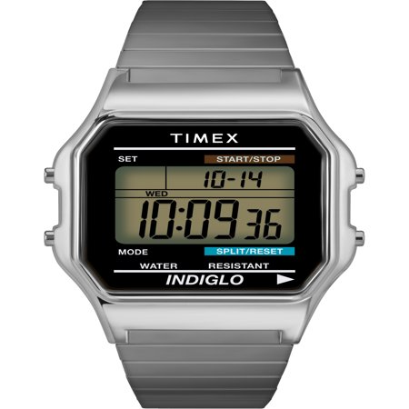 Men's Classic Digital Watch, Silver-Tone Stainless Steel Expansion Band