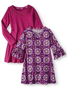 Print and Lace Yoke Stud Soft Knit Dresses, 2-Pack (Little Girls & Big Girls)