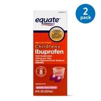 (2 Pack) Equate Childrens Ibuprofen Bubblegum Suspension, 100 mg, 8 Fl Oz