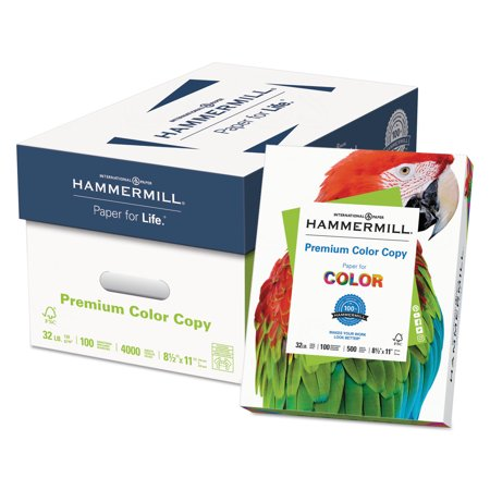 - Hammermill Premium Color Copy Paper, 100 Bright, 32lb, Letter, Photo White, 500 Sheets/Ream -HAM102630