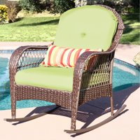 Best Choice Products Wicker Rocking Chair Patio Porch Deck Furniture All Weather Proof  W/ Cushions- Green