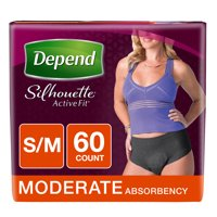 Depend Silhouette Active Fit Incontinence Briefs for Women, Moderate Absorbency, 60 Count, S/M (Choose Your Color)