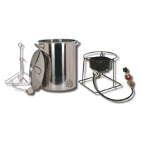 King Kooker 30 qt Stainless Steel Turkey Frying Propane Outdoor Cooker Package with Battery Operated Timer