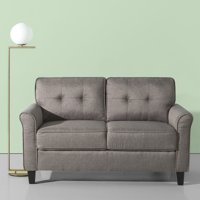 Zinus Josh Traditional Loveseat, Grey Weave