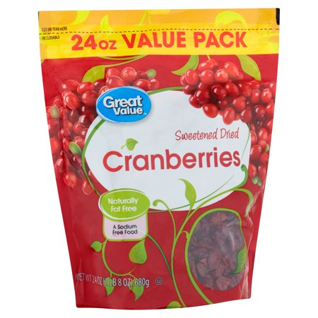 Great Value Sweetened Dried Cranberries Value Pack, 24 Oz.
