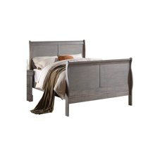 ACME Louis Philippe III Queen Sleigh Bed in Antique Gray, Multiple Sizes
