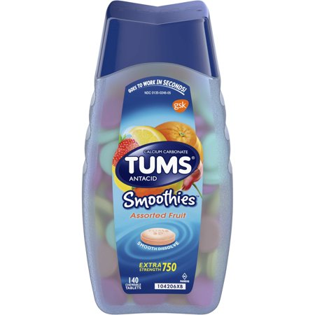 (2 Pack) Tums smoothies assorted fruit extra strength antacid chewable tablets for heartburn relief, 140 tabl ()