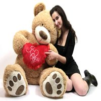 I Love  You 5 Foot Giant Teddy Bear Valentine's Day Soft Holds Big Plush Heart Embroidered I  YOU