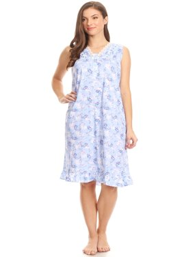 ff53612bc6 Product Image Z00112 Womens Nightgown Sleepwear Cotton Pajamas - Woman  Sleeveless Sleep Dress Nightshirt Blue L
