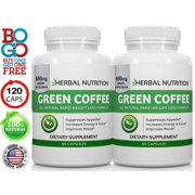 BOGO Sale - Pure Green Coffee Bean Extract - Two 60 Count Bottles, 120 Capsules