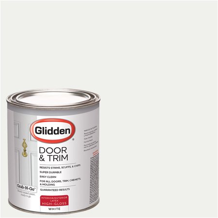 White, Glidden Door & Trim Paint, Grab-N-Go, High Gloss Finish,1 Quart