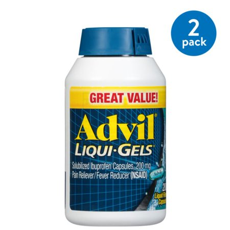 (2 Pack) Advil Liqui-Gels (200 Count) Pain Reliever / Fever Reducer Liquid Filled Capsule, 200mg Ibuprofen, Temporary Pain Relief, Pain reliever