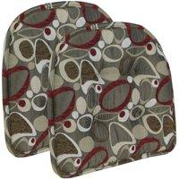 "Gripper Non Slip 15"" x 16"" Red Circles Tufted Chair Cushions, Set of 2"