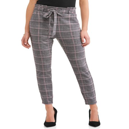 Elastic Waist Woven Knit Pants (Women's Knit Paperbag Waist Self Tie Pant)