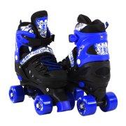 Adjustable Blue Quad Roller Skates For Kids Medium Sizes