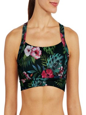 Women's Medium Impact Tropical Print Sports Bra with Open Back