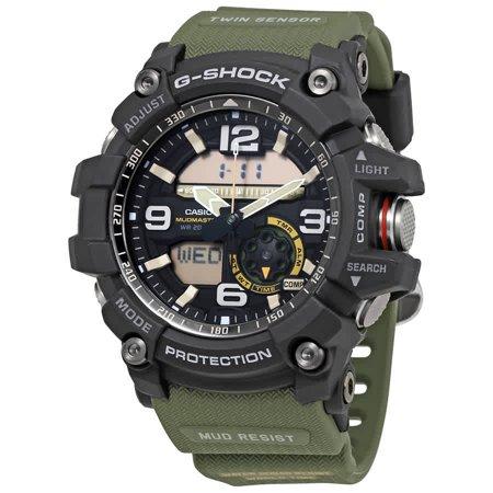 Casio Men's Green Resin Case Analog Stainless Steel Band Round Watch - GG1000-1A3CR Casio Mens Steel Watch