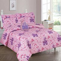 Pink Princess Palace Full Size Kids Comforter Set Bed In a Bag W/ Sheet Set - Includes Toy!