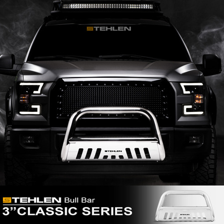 """Stehlen 714937182042 3"""" Classic Series Bull Bar ( Polished Stainless Steel ) For 2002-2005 Dodge Ram 1500 ; 2006-2009 1500 Mega ( Extended Crew ) Cab ; 2003-2009 2500 / 3500"""