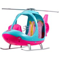 Barbie Travel Pink and Blue Helicopter with Spinning Rotors