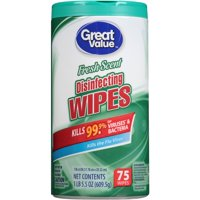 (2 pack) Great Value Disinfecting Wipes, Fresh Scent, 75 Wipes
