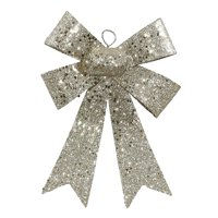 "Vickerman 7"" Champagne Sequin and Glitter Bow Christmas Ornament - Silver"