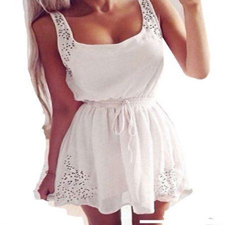 Summer Women Sleeveless Casual Chiffon Short Mini Dress Ladies Cocktail Casual Party Holiday Hollow Out Beach Sundress Chiffon Empire Beaded Bodice Dress